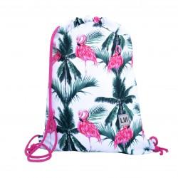Plecak worek - flamingi na palmach